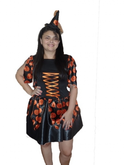 Fantasia Bruxa Halloween Plus Size