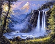 (8088) Pintura com Strass - Waterfall - 33x28 cm - full