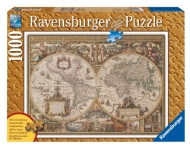 [2275] Antique World Map - 1000 pcs - Wooden Structure
