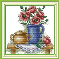 [8721] Pintura com Linhas - The teapot with flowers - 23x23 cm