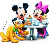 [8830] Pintura com Strass - Mickey, Minnie e Pluto - 20 x 20 full