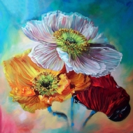 [8949] Pintura com Strass - Flower Art - 25x25 cm - full