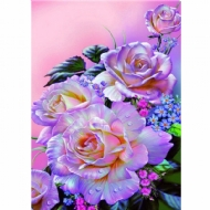 [8950] Pintura com Strass - Roses of rose - 25x28 cm - full
