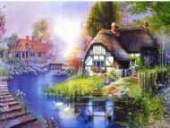 [9086] Pintura com Strass - Cottage - 20x30 cm - full