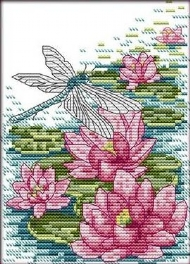 [9099] Pintura com Linhas - Dragonfly and lotus - 20x26 cm
