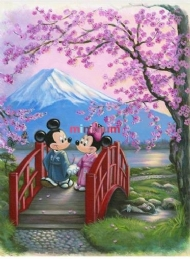 [9121] Pintura com Strass - Mickey and Minnie - 20x26 cm - full