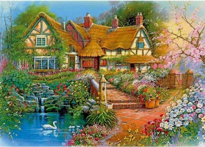 [9178] Pintura com Strass - Flower Cottage - 20x30 cm - full