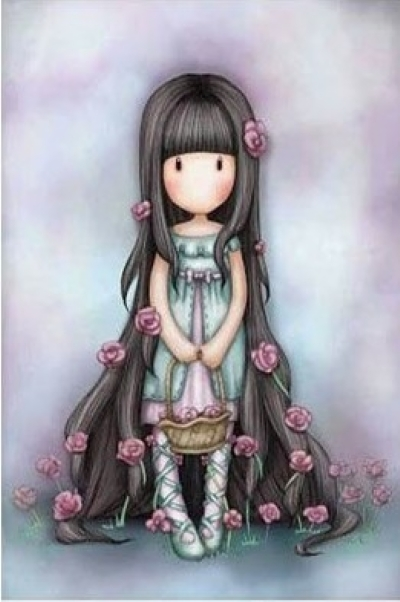[9180] Pintura com Strass - Long Hair Girl - 15x20 cm - full
