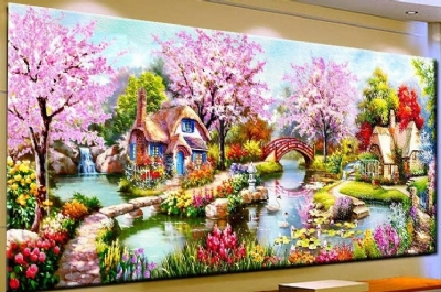 [9381] Pintura com Strass - Garden Cottage - 120x56 cm  full