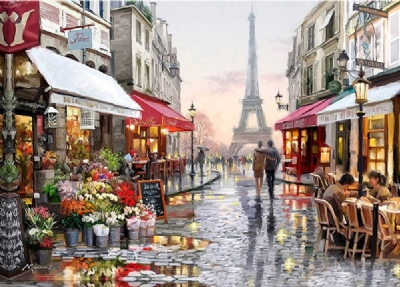 [9385] Pintura com Strass - Paris - 45x35 cm  full