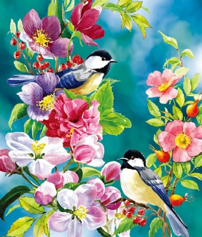 [9389] Pintura com Strass - Flowers and Birds - 20x25 cm  full