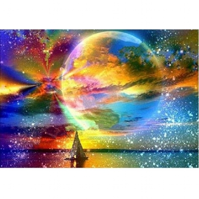 [9765] Pintura com Strass - Coloured Planet - 30x40cm   full
