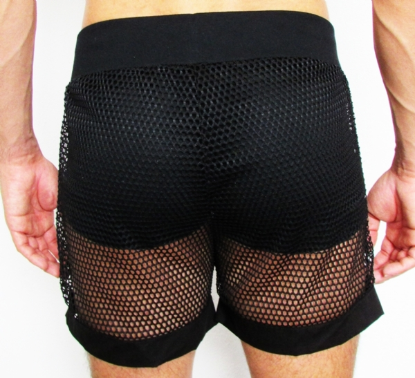 Shorts Transparente Arrastão preto